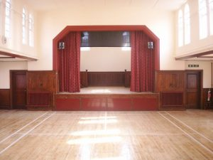 Inside of Robjohns Hall- stage view